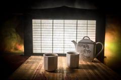 Tebegrepp ?stlig dryck f?r japansk kultur f?r teceremoni E royaltyfri fotografi