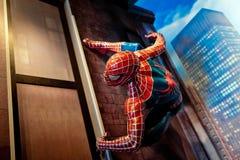 Tebeos de la maravilla del hombre araña en museo de señora Tussauds Wax en Amsterdam, Países Bajos Fotografía de archivo libre de regalías