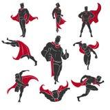 Tebeos del super héroe fijados ilustración del vector