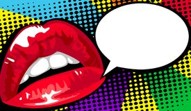 Tebeos rojos de los labios del ` s de las mujeres Ejemplo dinámico brillante de la historieta del vector estilo del arte pop Imagen de archivo libre de regalías