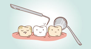 Tebeos sobre diagnósticos y el tratamiento dentales Foto de archivo