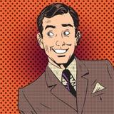 Tebeos sonrientes del arte pop del artista del actor del hombre de negocios del hombre feliz Fotografía de archivo