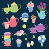 Tebjudning- och blommauppsättning royaltyfri illustrationer