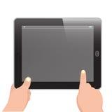 Teblet horizontal mit dem Handholding und -zeigefinger   Stockfoto
