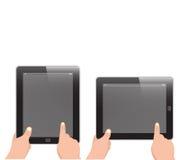 Teblet vertikal und horizontal mit dem Handholding und -zeigefinger Lizenzfreie Stockfotos