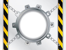 Tech backdrop with chained cogwheel. Tech backdrop with chained silver cogwheel stock illustration