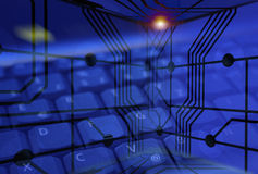 Tech background. With circuit boards and keyboard in blue style Stock Image