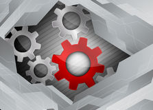 Tech background. Bright tech background with grey metall gears Stock Image