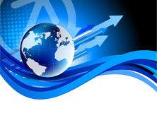 Tech background. Blue tech background with globe. Abstract illustration Stock Photos