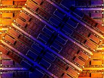 Tech background. Orange and blue computer memory background royalty free illustration