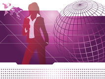 Tech background. Illustration of business people with tech abstract background Stock Photos