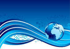 Tech background with globe. Tech blue background with globe Stock Photo