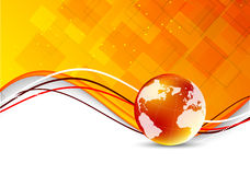 Tech background with globe. Abstract orange illustration Royalty Free Stock Photos