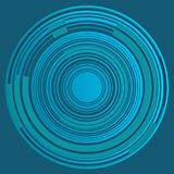 Concentric circles with bright and blue segments. Tech background with mechanical and futuristic image of concentric circles stock illustration