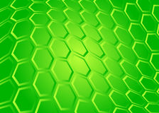 Tech background of transparent hexagon on green Stock Image