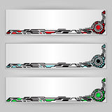 Tech banners. Vector abstract tech banners. Three color schemes Royalty Free Stock Images