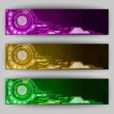 Tech banners orange purple green. Vector abstract tech banners. Three color schemes Stock Image
