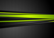 Tech black background with contrast green stripes Royalty Free Stock Images