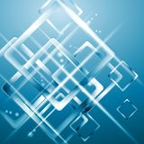 Tech blue background with blurred squares Stock Photo