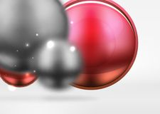 Tech blurred spheres and round circles with glossy and metallic surface. Vector realistic 3d objects, hi-tech technology abstract background Royalty Free Stock Images