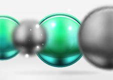 Tech blurred spheres and round circles with glossy and metallic surface Royalty Free Stock Photos