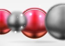 Tech blurred spheres and round circles with glossy and metallic surface Stock Photography