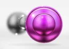 Tech blurred spheres and round circles with glossy and metallic surface. Vector realistic 3d objects, hi-tech technology abstract background Stock Photos
