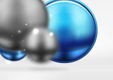 Tech blurred spheres and round circles with glossy and metallic surface. Vector realistic 3d objects, hi-tech technology abstract background Royalty Free Stock Photos
