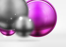 Tech blurred spheres and round circles with glossy and metallic surface. Vector realistic 3d objects, hi-tech technology abstract background Royalty Free Stock Photography