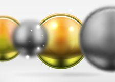 Tech blurred spheres and round circles with glossy and metallic surface. Vector realistic 3d objects, hi-tech technology abstract background Stock Photography