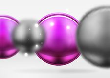 Tech blurred spheres and round circles with glossy and metallic surface. Vector realistic 3d objects, hi-tech technology abstract background Royalty Free Stock Image