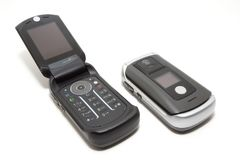 -tech clamshell mobile phones Stock Photography