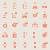 Tech color icons on grey background Stock Images