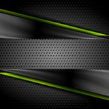 Tech dark glossy background with perforated metal Royalty Free Stock Photo