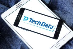Tech Data company logo. Logo of Tech Data company on samsung mobile. Tech Data is an American multinational distribution company specializing in IT products and stock photography