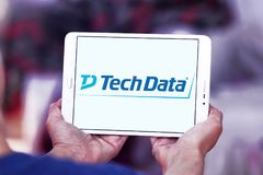 Tech Data company logo. Logo of Tech Data company on samsung tablet. Tech Data is an American multinational distribution company specializing in IT products and Stock Photography