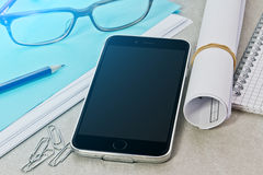 Tech device mock up on office background Royalty Free Stock Photo