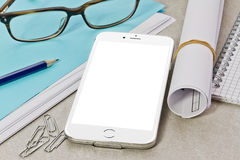 Tech device mock up on office background Stock Photos