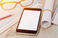 Tech device mock up on office background Stock Photo
