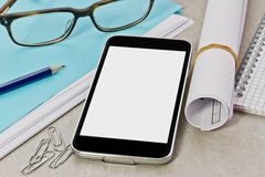 Tech device mock up on office background Royalty Free Stock Photos