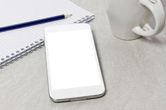 Tech device mock up on office background Stock Images