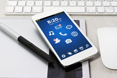 Tech device mock up on office background Stock Photography