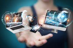 Tech devices connected to each other by businesswoman 3D renderi. Tech devices connected to each other by businesswoman on blurred background 3D rendering Stock Photography