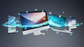 Tech devices and icons applications connected 3D rendering. Tech devices and icons applications connected and isolated on grey background 3D rendering Stock Photo