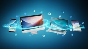 Tech devices and icons applications connected 3D rendering. Tech devices and icons applications connected and isolated on blue background 3D rendering Stock Images