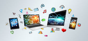 Tech devices and icons applications Royalty Free Stock Photography