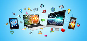 Tech devices and icons applications Royalty Free Stock Photos
