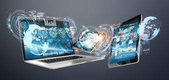 Tech devices with icons and graphs flying 3D rendering. Tech devices with icons and graphs flying on dark background 3D rendering Royalty Free Stock Image