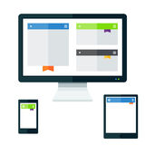 Tech devices set. Technology devices set with screen display tablet and phone Royalty Free Stock Photography