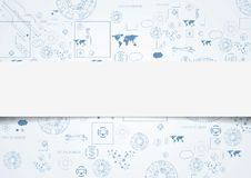 Tech engineering drawing abstract background Stock Images